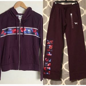 Tropical Floral maroon sweat suit